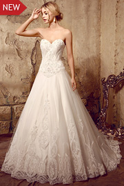 dropped waist bridal gowns - JW2608